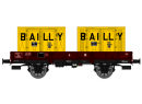 REE MODELES WB 126 HO -  Wagon PLAT OCEM 29 Ep.III SNCF containers Bailly (WB126)